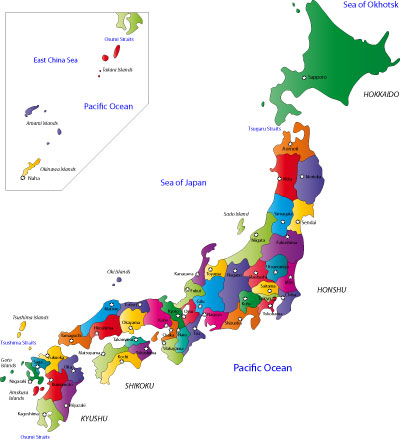 Japan prefectures and capital cities map
