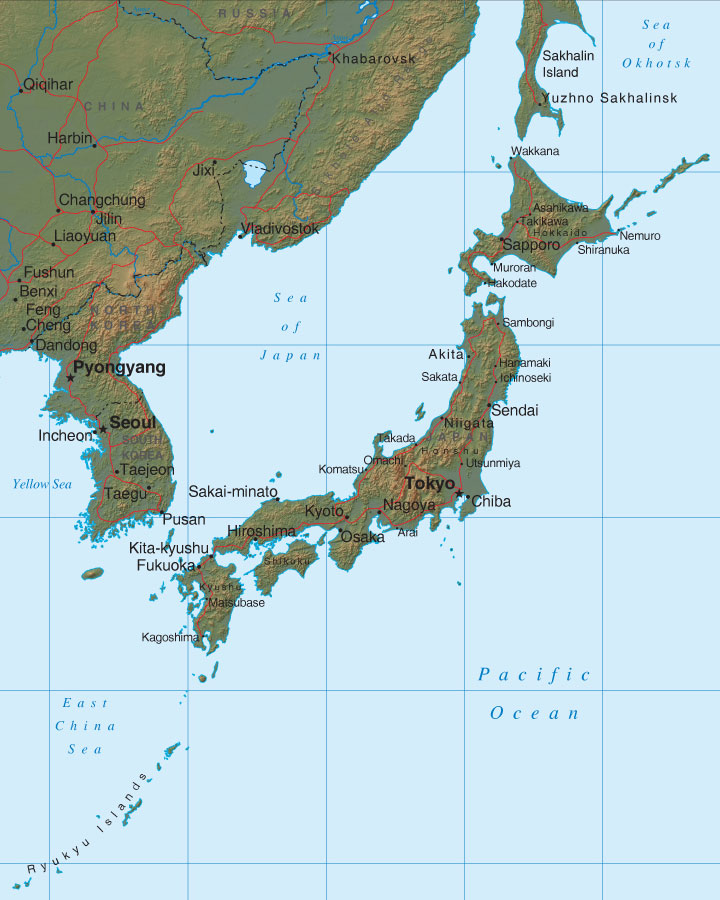 relief map of Japan